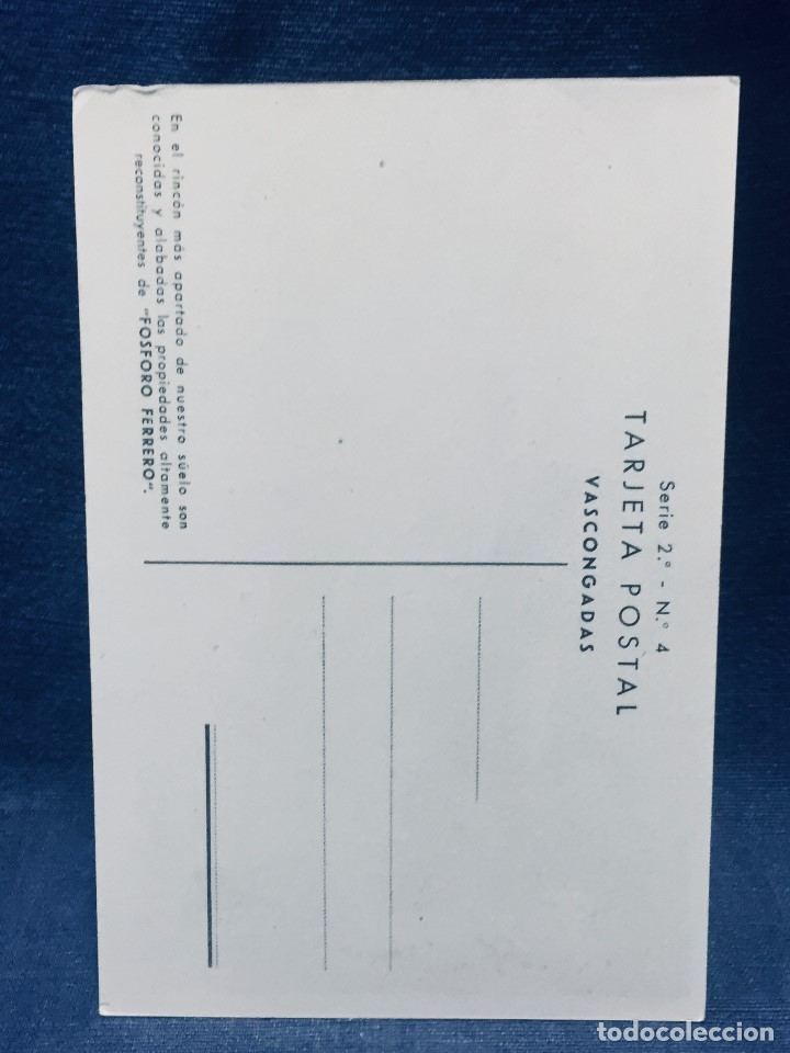 Postales: POSTAL PUBLICIDAD FÓSFORO FERRERO PESCADOR REMERO VASCONGADAS PAIS VASCO SERIE 2 Nº 4 MAIRATA - Foto 2 - 179374357