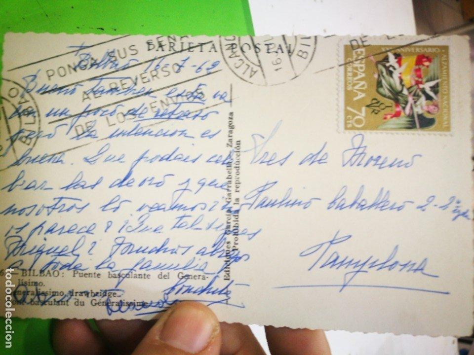 Postales: Postal Bilbao Puente Basculante del Generalísimo 1959 escrita y sellada - Foto 2 - 182755442
