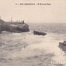 Postales: SAN SEBASTIAN EL ROMPE OLAS ED. J. LATIEULE Nº 52 REVERSO SIN DIVIDIR. Lote 183461537