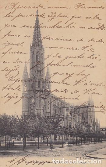 SAN SEBASTIAN IGLESIA DEL BUEN PASTOR ED. J. LATIEULE Nº 43 REVERSO SIN DIVIDIR (Postales - España - Pais Vasco Antigua (hasta 1939))
