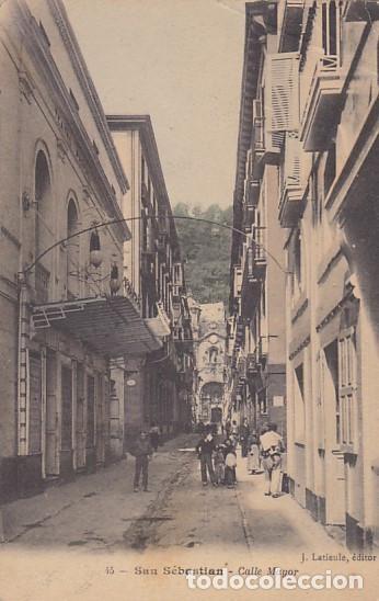 SAN SEBASTIAN CALLE MAYOR ED. J. LATIEULE Nº 45 REVERSO SIN DIVIDIR (Postales - España - Pais Vasco Antigua (hasta 1939))