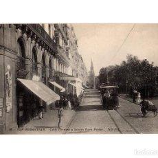 Postales: SAN SEBASTIÁN.(GUIPÚZCOA).- CALLE HERNANI Y IGLESIA BUEN PASTOR. . Lote 183588975