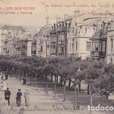 Postales: SAN SEBASTIAN PASEO DE LA CONCHA Y HOTELES ED. CASTAÑEIRA Y ALVAREZ Nº 821. Lote 183662967