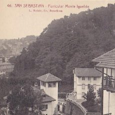 Postales: SAN SEBASTIAN FUNICULAR MONTE IGUELDO ED. L ROISIN FOT. Nº 46. Lote 183696053