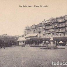 Postales: SAN SEBASTIAN PLAZA CERVANTES ED. E.J.G. PARIS IRUN . Lote 183698360