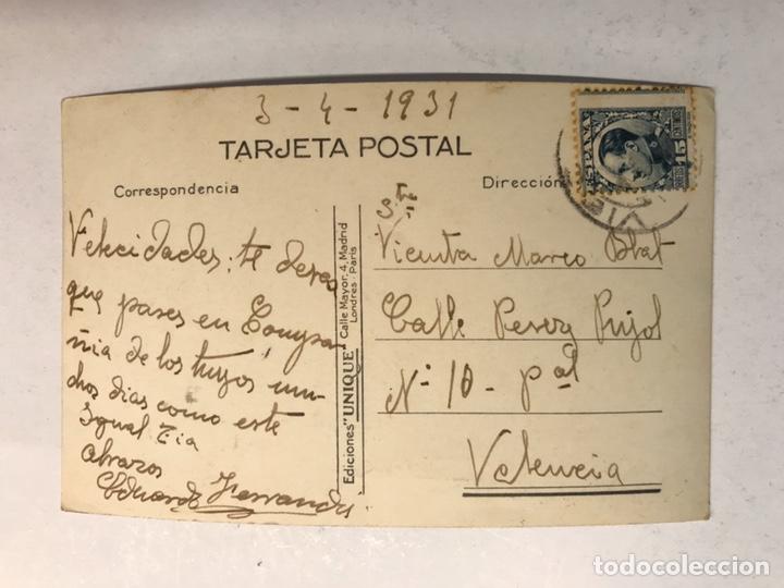 Postales: BAYONA. Postal No.1506, Virgen de la Roca y Monte Real. Edita: Unique (a.1931) Circulada - Foto 2 - 183864395
