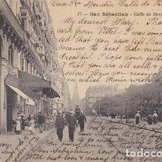 Postales: GUIPUZCOA SAN SEBASTIAN CALLE DE HERNANI ED. LATIEULE Nº 17. Lote 187517655