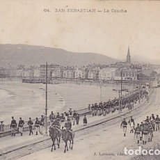 Postales: GUIPUZCOA SAN SEBASTIAN LA CONCHA DESFILE MILITAR ED. LATIEULE Nº 64. Lote 187518008