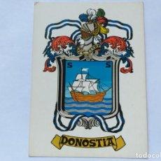 Postales: POSTAL ESCUDO DE DONOSTIA. HERALDICA MUNICIPAL. HERALDICAS ENDIKA MOGROBEJO. 1980. SIN CIRCULAR. Lote 189349093