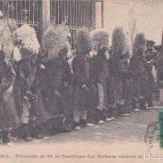Postales: FUENTERRABIA (GUIPUZCOA) - PROCESION DE NTRA SRA DE GUADALUPE - LOS HOCHEROS DELANTE DE LA IGLESIA. Lote 190185838