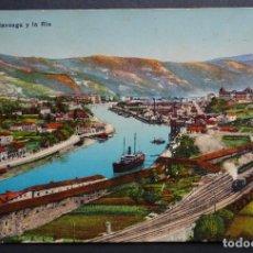 Postales: BILBAO, OLAVEGA Y LA RIA, ANTIGUA POSTAL COLOREADA CIRCULADA, VER FOTO REVERSO. Lote 191393733
