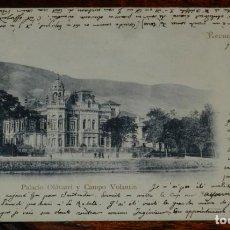 Postales: POSTAL DE BILBAO, PALACIO OLAVARRI Y CAMPO VOLANTIN, ED. JOSE CRUZ DE GORBEA, CIRCULADA EN 1903.. Lote 192318805