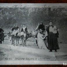 Postales: ANTIGUA POSTAL EN ALUMINIO DE DEUSTO, BILBAO, GRUPO DE LECHERAS, N. 10, CIRCULADA EN 1908.. Lote 192331093