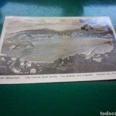 Postales: ANTIGUA POSTAL DE SAN SEBASTIÁN. VISTA GENERAL DESDE IGUELDO. AÑOS 50. Lote 194198325