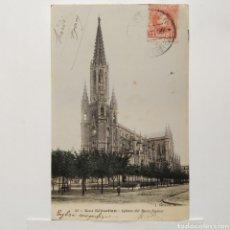 Postales: POSTAL 43 - SAN SEBASTIÁN - IGLESIA DEL BUEN PASTOR, CIRCULADA AÑO 1909 - LATIEULE, COLOREADA. Lote 194640836