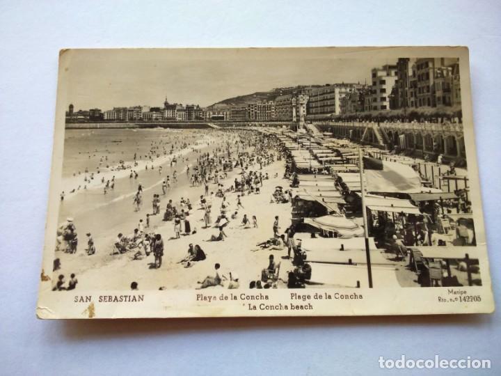POSTAL -- SAN SEBASTIAN - PLAYA DE LA CONCHA -- ESCRITA -- (Postales - España - País Vasco Moderna (desde 1940))