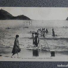 Postales: SAN SEBASTIÁN GRUPO DE BAÑISTAS POSTAL ANTIGUA EDICIONES MAYOR HERMANOS RARA. Lote 194914593