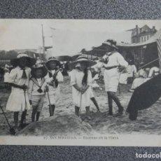 Postales: SAN SEBASTIÁN ESCENAS DE PLAYA POSTAL ANTIGUA EDICIONES MAYOR HERMANOS. Lote 194914851