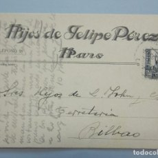 Postales: TARJETA COMECIAL, HIJOS DE FELIPE PEREZ - HARO, LA RIOJA - AÑO 1939... L708. Lote 195091387