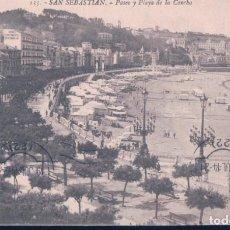 Postales: POSTAL SAN SEBASTIAN - PASEO Y PLAYA DE LA CONCHA - GALARZA - 135 - CIRCULADA SELLOS ALFONSO XIII. Lote 195323983