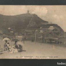 Postales: POSTAL CIRCULADA - SAN SEBASTIAN 227 - PLAYA Y MONTE IGUELDO - EDITA GALARZA. Lote 195415143