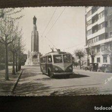 Postales: BILBAO-MONUMENTO AL SAGRADO CORAZON DE JESUS Y EL TROLEBUS-FOTO ROISIN-POSTAL ANTIGUA-(68.249). Lote 195505482