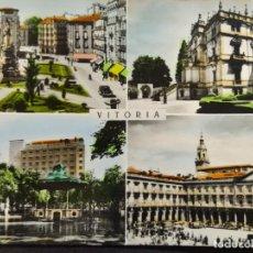 Postales: VITORIA-PLAZA VIRGEN BLANCA-MUSEO PROVINCIAL-PARQUE FLORIDA-PLAZA ESPAÑA-POSTAL ANTIGUA-(68.584). Lote 196228400