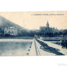 Postales: LEQUEITIO.(VIZCAYA).- EL MUELLE Y EL PALACIO DE URIBARREN.. Lote 196296958