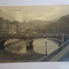 Postales: ANTIGUA CPA POSTAL DE BILBAO 1910, PUENTE DE LA MERCED, VER FOTOS. Lote 197283475