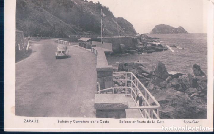 POSTAL ZARAUZ - BALCON Y CARRETERA DE LA COSTA - FOTO GAR - COCHE DE EPOCA (Postales - España - Pais Vasco Antigua (hasta 1939))
