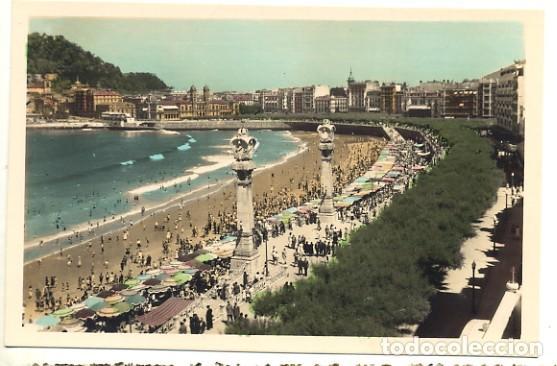 ANTIGUA POSTAL DE SAN SEBASTIÁN - PASEO Y PLAYA DE LA CONCHA - GALARZA - Nº 42 - COLOREADA - SIN USO (Postales - España - País Vasco Moderna (desde 1940))