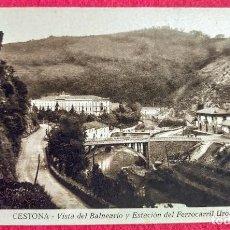 Postales: TARJETA POSTAL VINTAGE ORIGINAL DE CESTONA – VISTA DEL BALNEARIO Y ESTACIÓN DEL FERROCARRIL UROLA. Lote 200339120