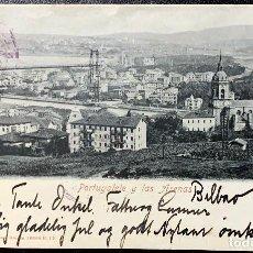 Postales: 1901. BILBAO-ODENSE. PORTUGALETE Y LAS ARENAS. Lote 202033405