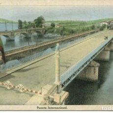 Postales: IRÚN PUENTE INTERNACIONAL-FRONTERA HISPANO FRANCESA AÑO 1951-ARRIBAS. Lote 204146627