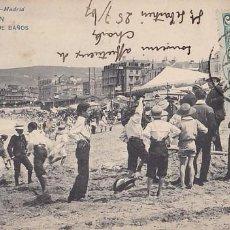 Postales: SAN SEBASTIAN PLAYA DE BAÑOS. ED. HAUSER Y MENET Nº 919. REVERSO SIN DIVIDIR. CIRCULADA EN 1907. Lote 206276493