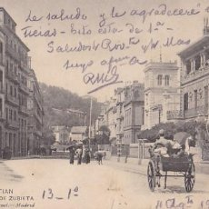 Postales: SAN SEBASTIAN CALLE ZUBIETA. ED. HAUSER Y MENET Nº 1487. CIRCULADA EN 1907. Lote 206277758