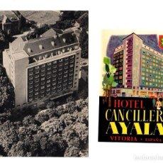 Postales: TARJETA POSTAL HOTEL CANCILLER AYALA. VITORIA. ALAVA. SE ACOMPAÑA DE ETIQUETA DE EQUIPAJE. Lote 206881425