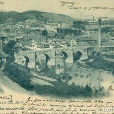 Postales: BILBAO PUENTE NUEVO DE BOLUETA. CIRCULADA EN 1903. HAUSER Y MENET TRES ESTRELLAS (* * *). Lote 207035398