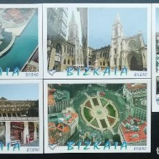 Postales: JUEGO 5 POSTALES BILBAO. CATEDRAL SANTIAGO, PLAZA NUEVA, MOYÚA, FUNICULAR ARTXANDA, MUSEO GUGGENHEIM. Lote 207652372
