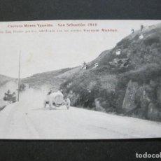 Postales: SAN SEBASTIAN-CARRERA MONTE IGUELDO-AÑO 1910-PUBLICIDAD VACUUM MOBILOIL-POSTAL ANTIGUA-(71.375). Lote 207870397