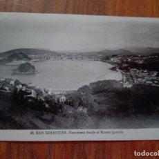 Postales: POSTAL SAN SEBASTIÁN DONOSTIA - PANORAMA DESDE EL MONTE IGUELDO - SIN CIRCULAR - BRILLO.. Lote 209783190