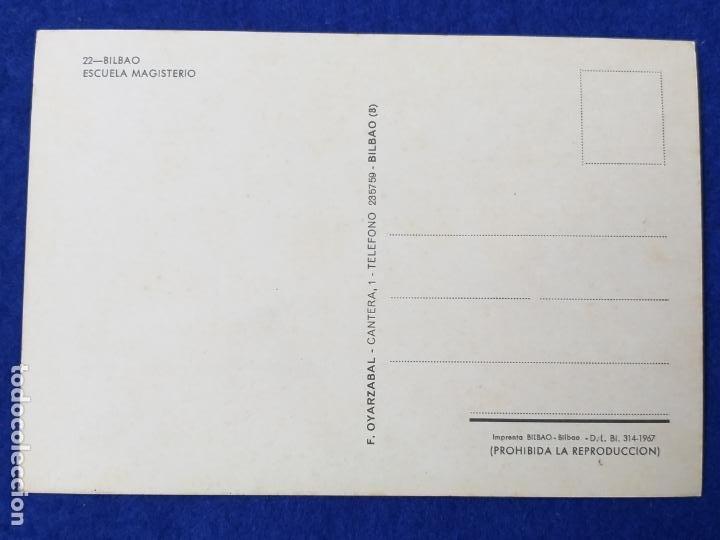 Postales: Postal de Bilbao. Escuela Magisterio. Ed. F. Oyarzabal. Nº 22. Sin circular - Foto 2 - 210261015