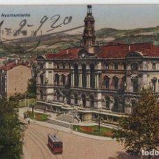 Postales: EL AYUNTAMIENTO-CICULADA Y SIN SELLO-BILBAO-VIZCAYA. Lote 210420238