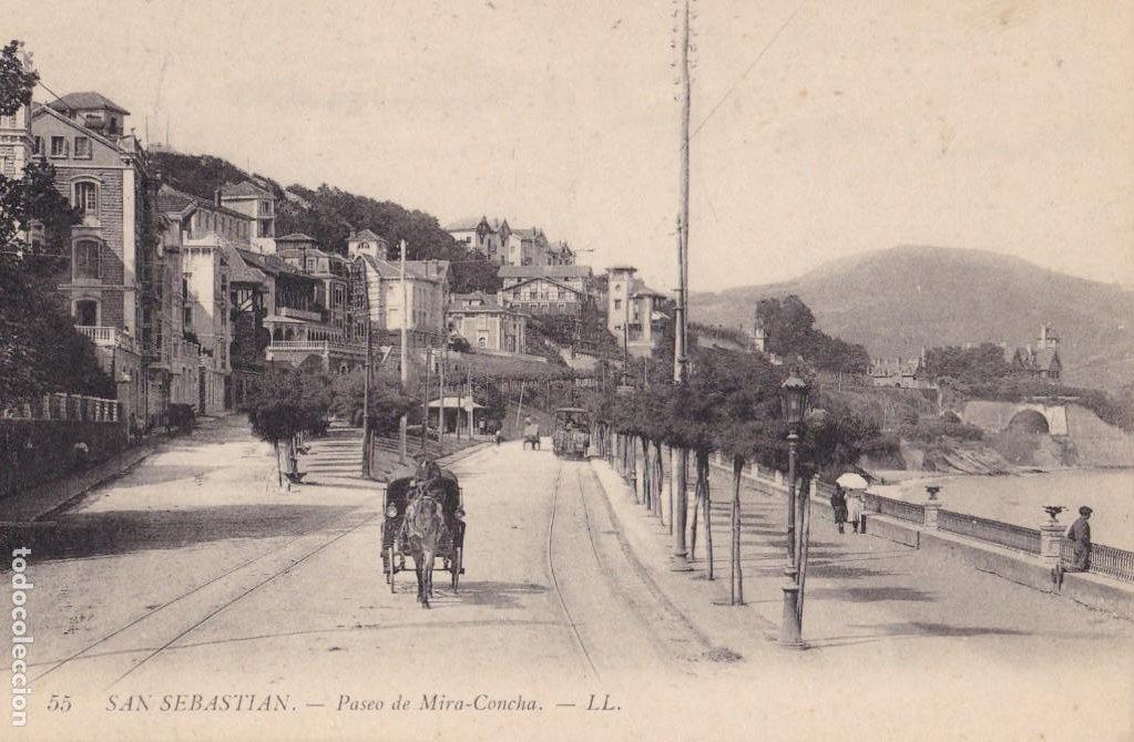 SAN SEBASTIAN PASEO DE MIRA-CONCHA. ED. LL Nº 55. SIN CIRCULAR (Postales - España - Pais Vasco Antigua (hasta 1939))