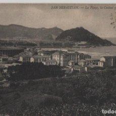 Postales: LA PLAZA-CIUDAD Y EL CASTILLO-CIRCULADA Y CON SELLO-SAN SEBASTIAN-GUIPUZCOA. Lote 211508656
