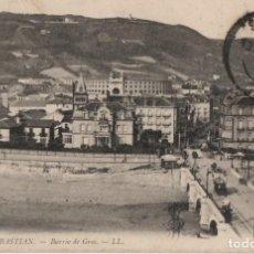 Postales: BARRIO DE GROS-CIRCULADA Y CON SELLO-SAN SEBASTIAN-GUIPUZCOA. Lote 211509007