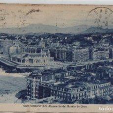 Postales: ENSANCHE BARRIO GROS-CIRCULADA Y CON SELLO-SAN SEBASTIAN-GUIPUZCOA. Lote 211509275