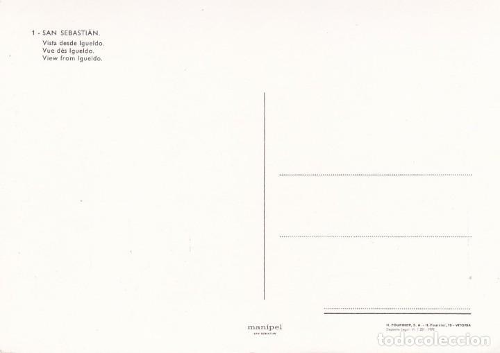 Postales: POSTAL VISTA DESDE IGUELDO. SAN SEBASTIAN (1970) - MANIPEL. FOURNIER - Foto 2 - 211596074