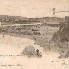 Postales: BILBAO 1042 PLAYA DE PORTUGALETE Y ARENAS CIR. EN 1904. Lote 243957130