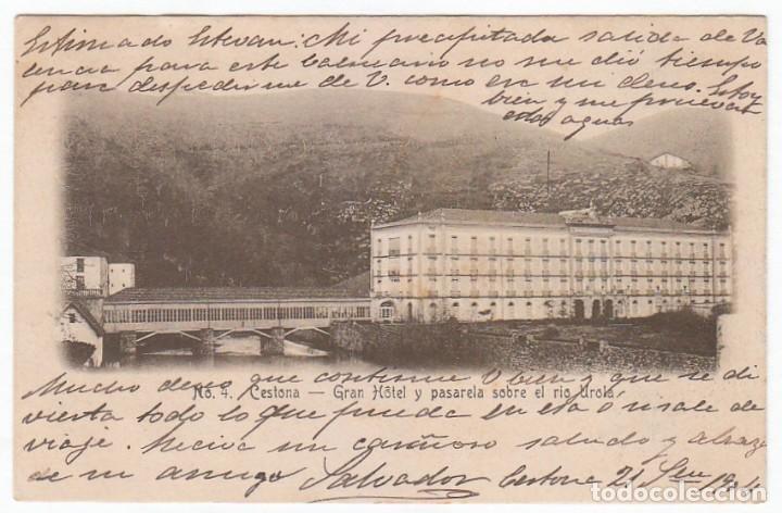 ANTIGUA POSTAL. CESTONA GRAN HOTEL Y PASARELA RÍO UROLA, GUIPUZCOA. SIN DIVIDIR CIRCULADA 1904 PT (Postales - España - Pais Vasco Antigua (hasta 1939))